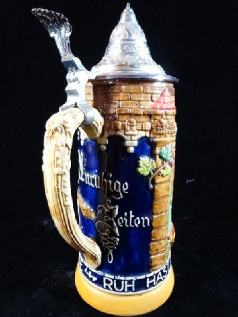 GERMAN PORCELAIN BEER STEIN, RELIEF DESIGN OF KNIGHT ON - 3