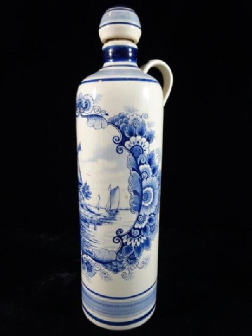DELFT PORCELAIN DECANTER WITH STOPPER, PAINTED WINDMILL