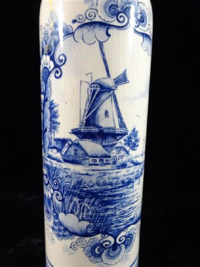 DELFT PORCELAIN DECANTER WITH STOPPER, PAINTED WINDMILL - 2
