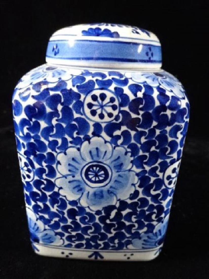 DELFT PORCELAIN BLUE AND WHITE JAR WITH LID, PAINTED