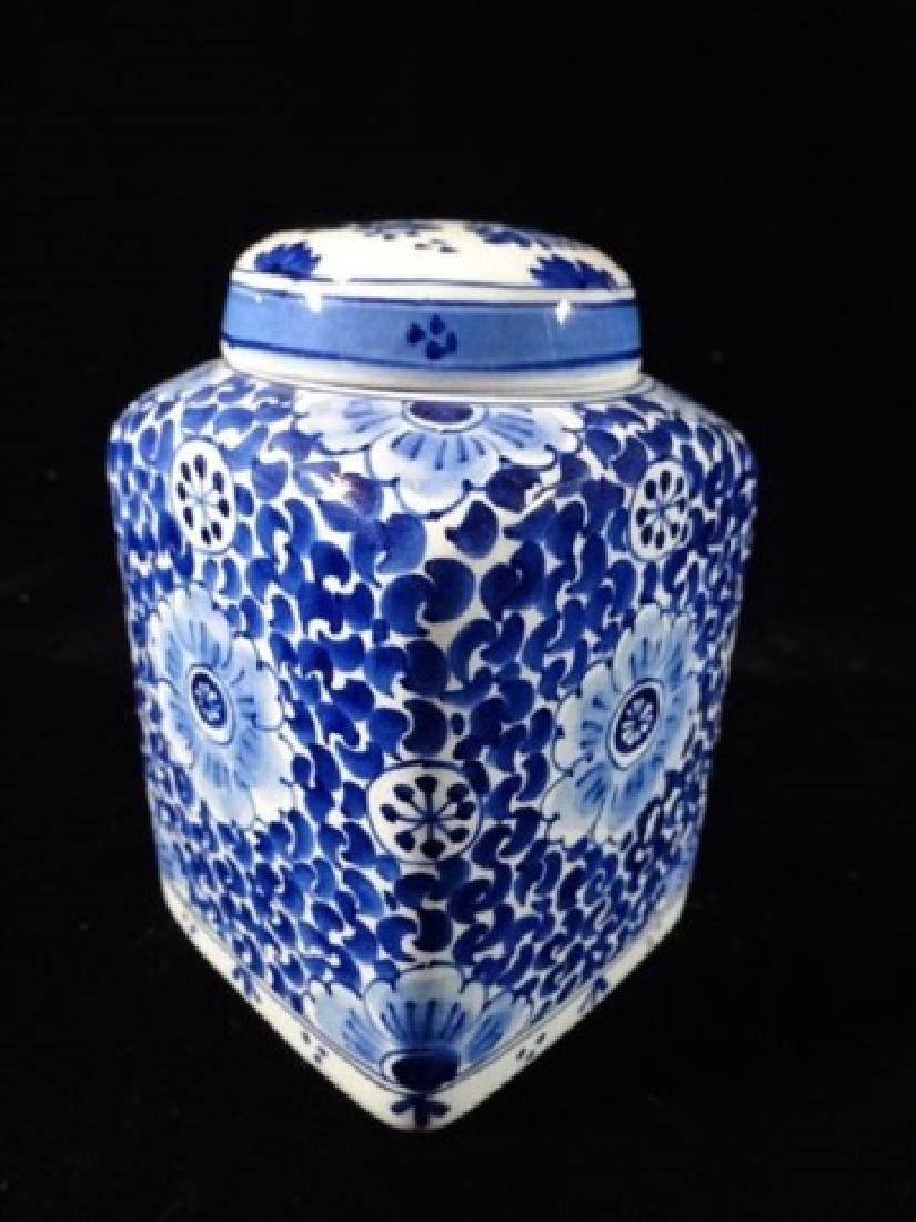 DELFT PORCELAIN BLUE AND WHITE JAR WITH LID, PAINTED - 3