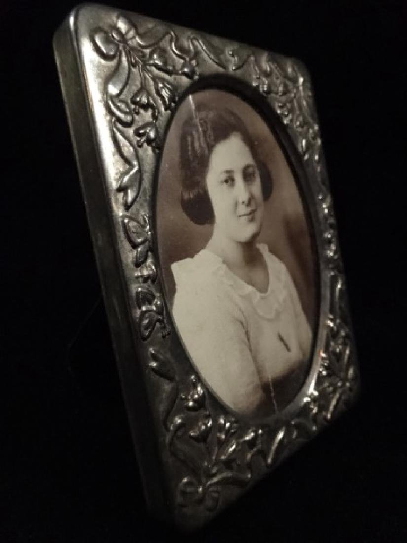 """VINTAGE SILVER TONE PHOTO FRAME, APPROX 4 3/8"""" X 3 1/8"""" - 2"""