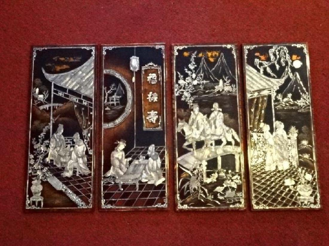 4 CHINESE MOTHER OF PEARL WALL PLAQUES, INLAID MOTHER
