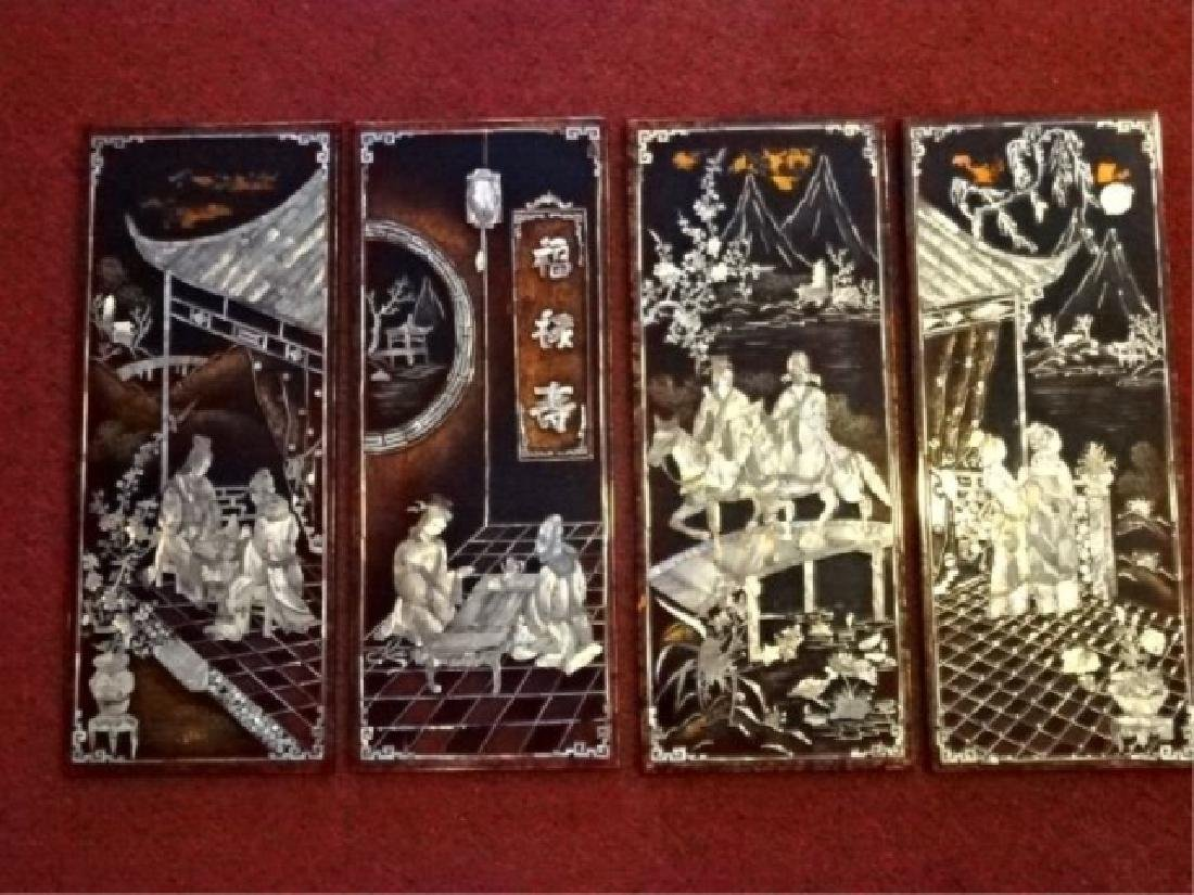 4 CHINESE MOTHER OF PEARL WALL PLAQUES, INLAID MOTHER - 2