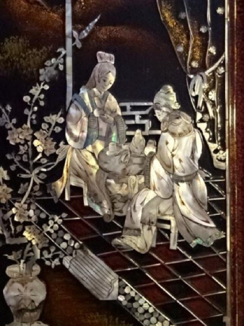4 CHINESE MOTHER OF PEARL WALL PLAQUES, INLAID MOTHER - 5