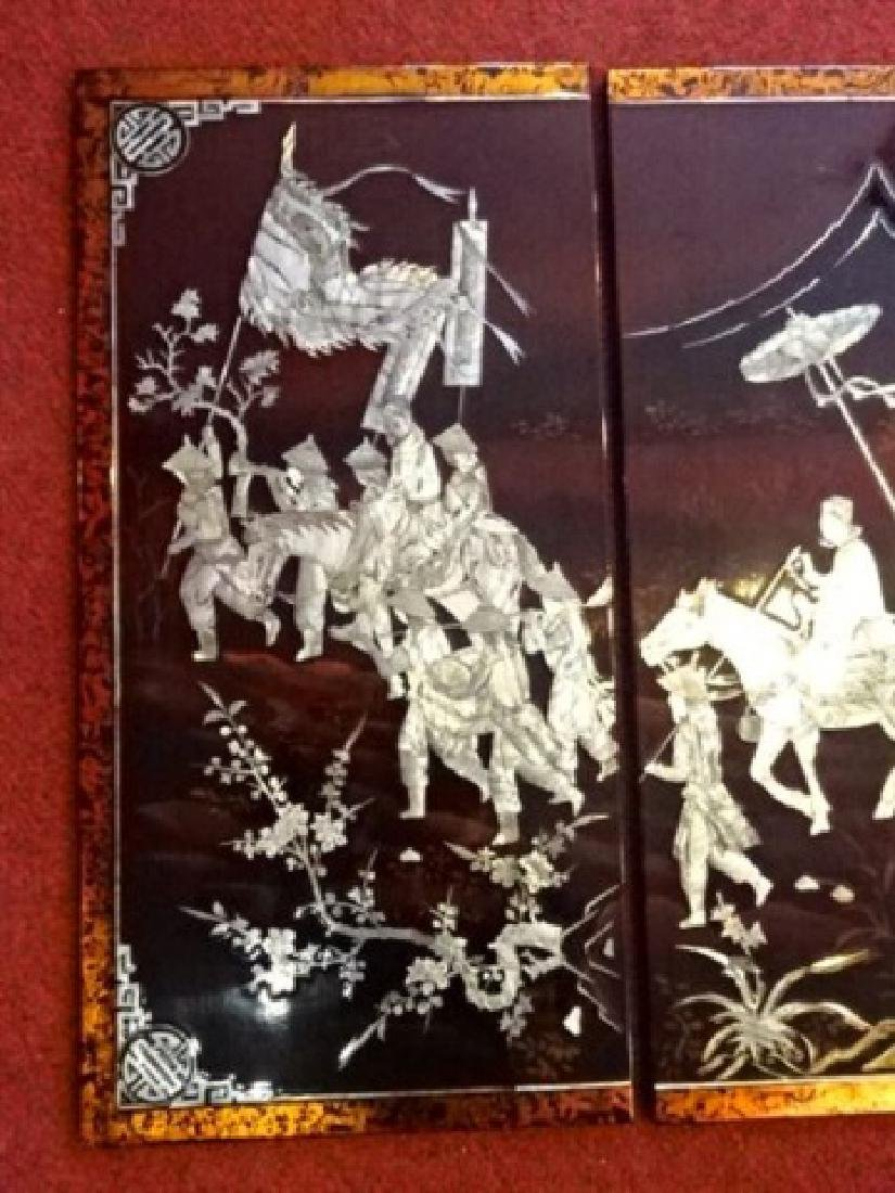 4 CHINESE MOTHER OF PEARL WALL PLAQUE QUADTYCH INLAID - 2