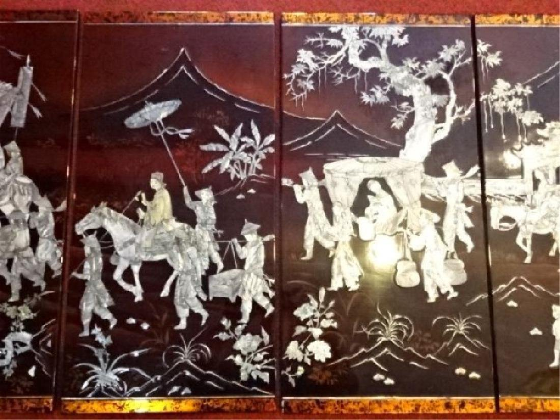 4 CHINESE MOTHER OF PEARL WALL PLAQUE QUADTYCH INLAID - 3