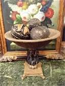 LARGE PEDESTAL BOWL WITH DECORATIVE ORBS BRONZE AND