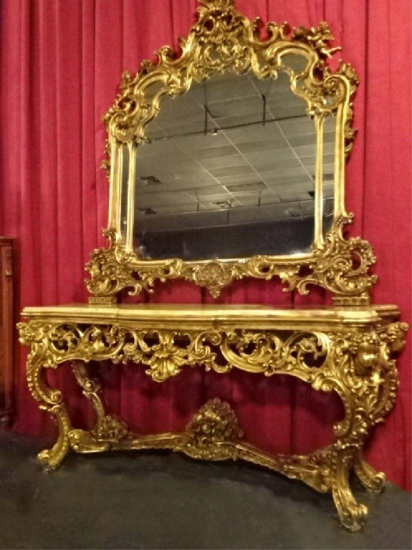 SPECTACULAR ROCOCO GILT WOOD CONSOLE AND MIRROR, 2 PC