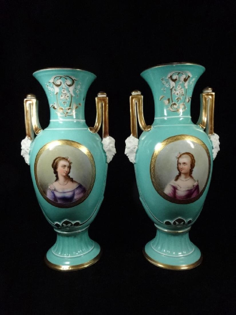 PAIR HANDPAINTED PORCELAIN VASES, PORTRAITS OF TWO