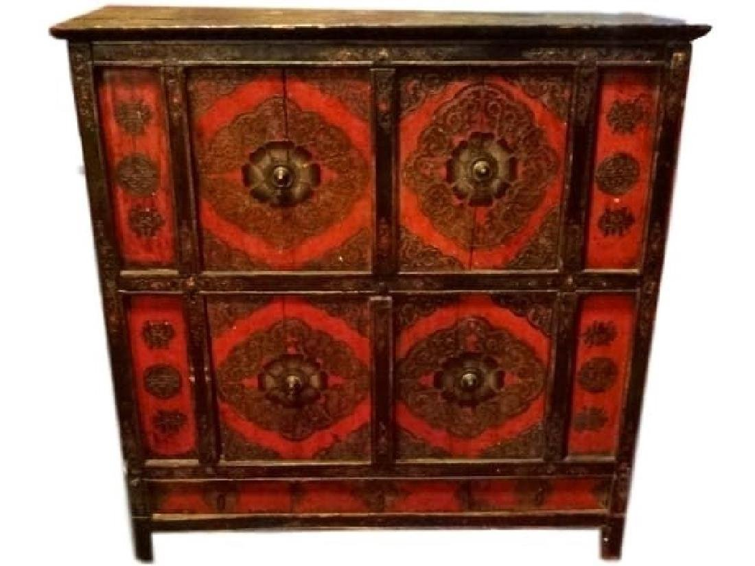 ANTIQUE CHINESE TIBETAN POLYCHROME CABINET, CARVED