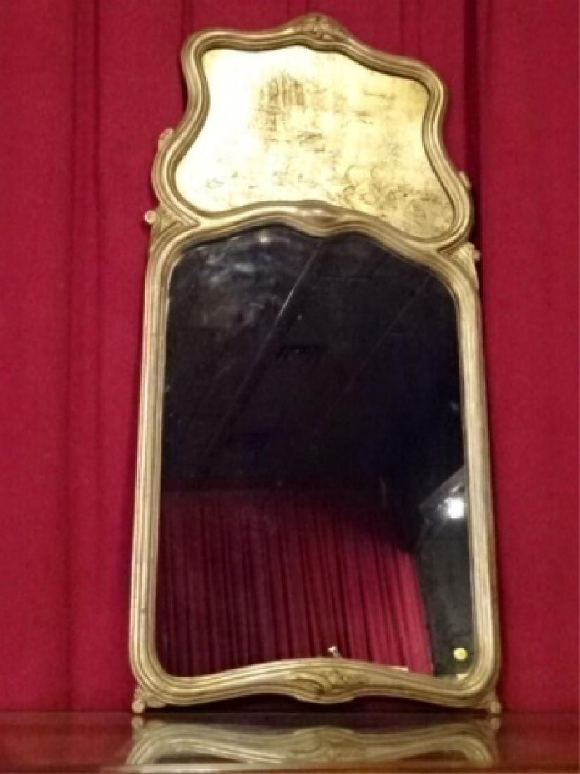 CHINOISERIE SILVER GILT TRUMEAU MIRROR, PAINTED CHINESE