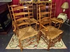 6 VINTAGE LADDER BACK CHAIRS 2 ARMCHAIRS 4 SIDE