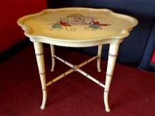 HOLLYWOOD REGENCY STYLE FAUX BAMBOO TABLE, PAINTED