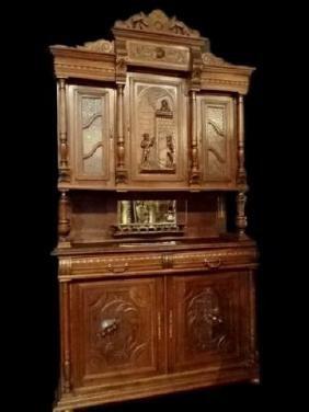 Renaissance Revival German Oak Sideboard Hutch, Circa