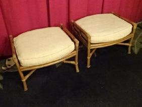 Pair Ficks Reed Bamboo Ottomans, With Ficks Reed