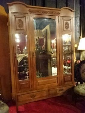 Antique Mirrored Wardrobe, Center Cabinet Flanked By