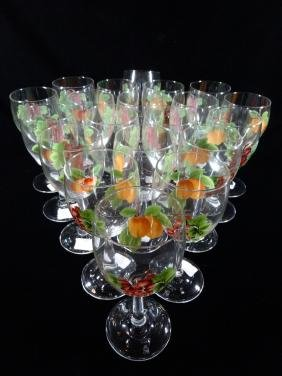 20 Royal Doulton Wine Glasses With Painted Fruit