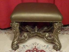 Rococo Wood And Leather Ottoman, Taupe / Brown Leather