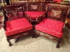 PAIR CHINESE ROSEWOOD ARMCHAIRS MOTHER OF PEARL INLAID