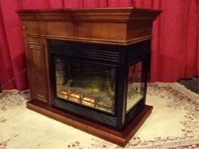 3 Sided Electric Peninsula Fireplace, Adjustable Faux