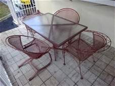 6 PC METAL PATIO TABLE 4 CHAIRS AND 2 SIDE TABLES