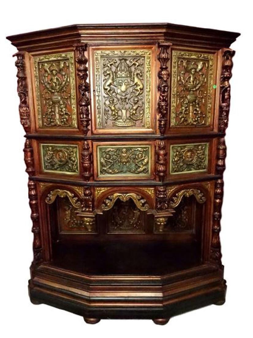 ANTIQUE EUROPEAN CREDENCE CABINET, ELABORATELY CARVED
