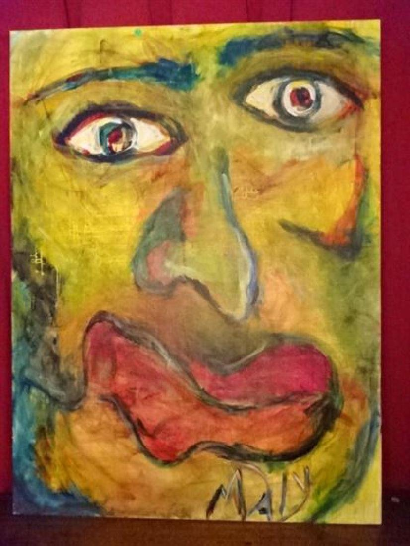 LARGE MICHAEL DAILY ABSTRACT PAINTING, FACE, SIGNED