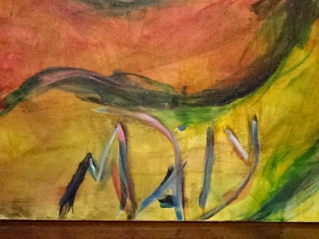 LARGE MICHAEL DAILY ABSTRACT PAINTING, FACE, SIGNED - 2