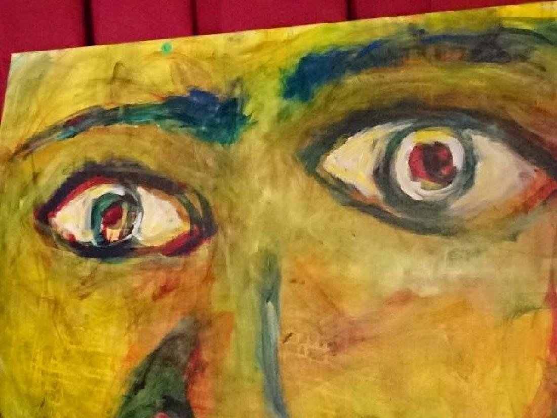 LARGE MICHAEL DAILY ABSTRACT PAINTING, FACE, SIGNED - 3
