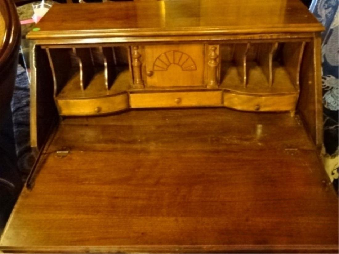 DROP FRONT SECRETARY DESK, EARLY 20TH C., STAMPED - 3