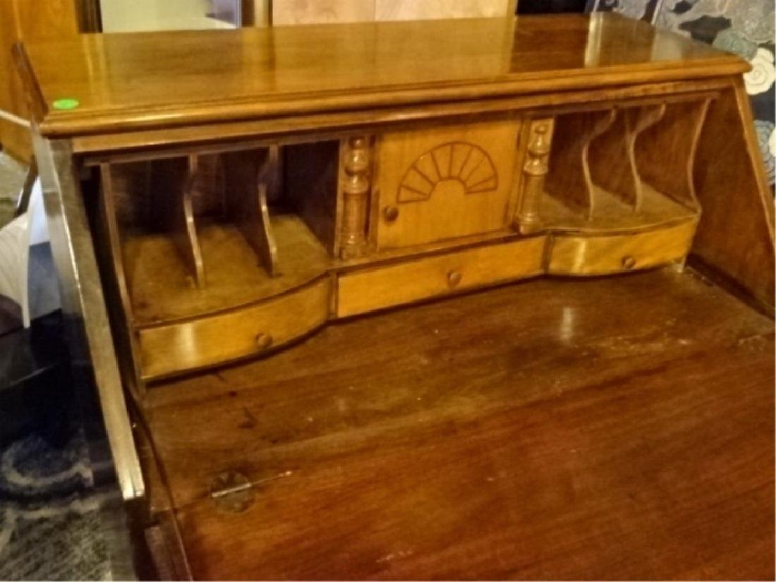 DROP FRONT SECRETARY DESK, EARLY 20TH C., STAMPED - 4