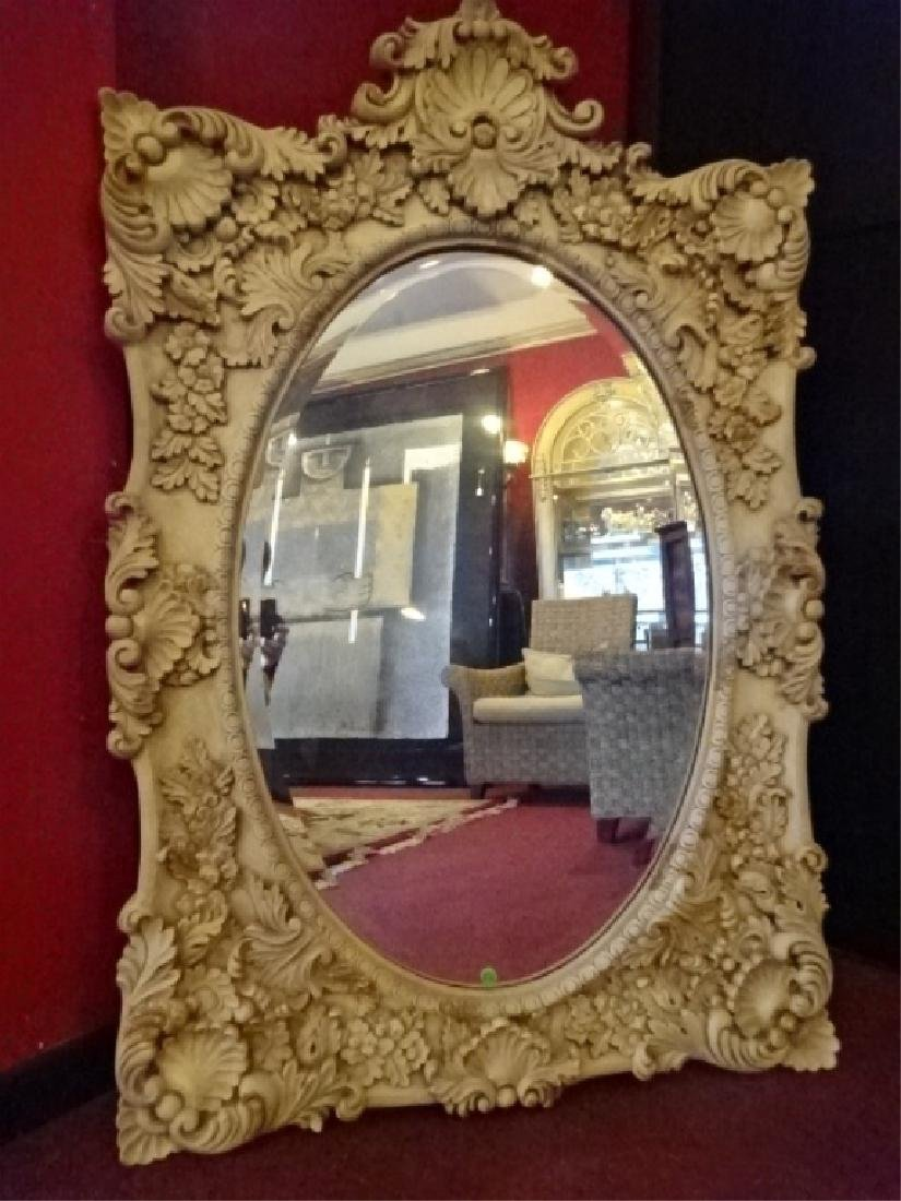 ROCOCO STYLE MIRROR, SHELL CREST, LIGHT GREIGE FINISH,