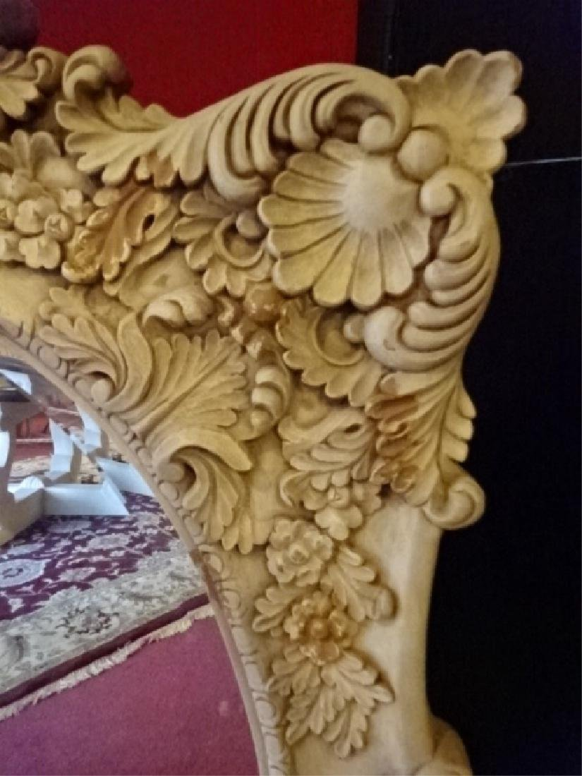 ROCOCO STYLE MIRROR, SHELL CREST, LIGHT GREIGE FINISH, - 2