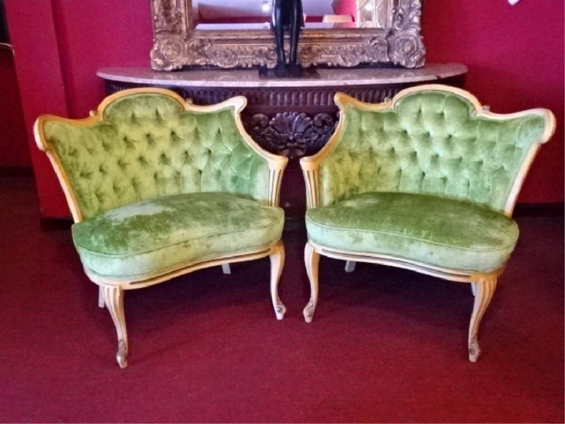 PAIR HOLLYWOOD REGENCY STYLE ARMCHAIRS, MID CENTURY, - 2