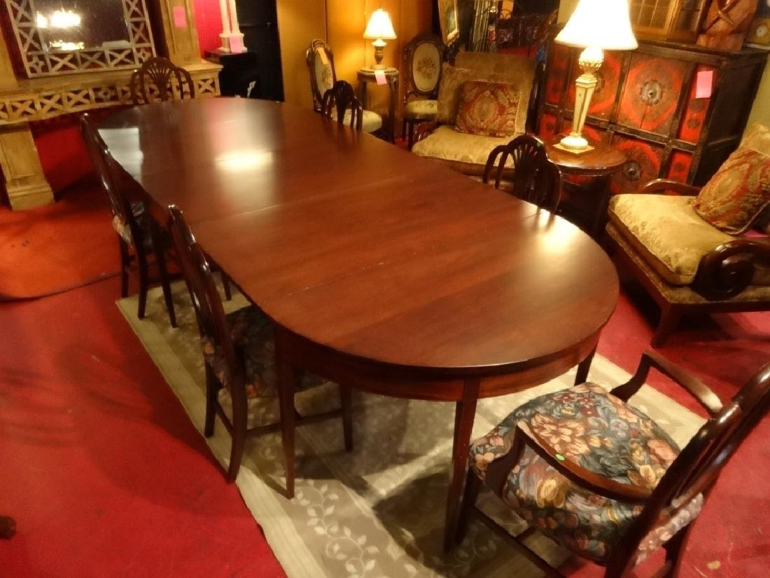 7 PC VINTAGE SHERATON STYLE DINING SET, EXTENSION TABLE