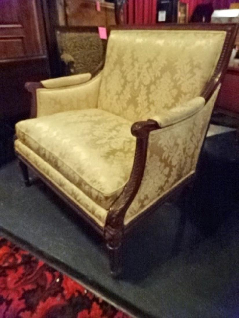 LOUIS XVI STYLE DOUBLE ARMCHAIR, GOLD UPHOLSTERY, VERY