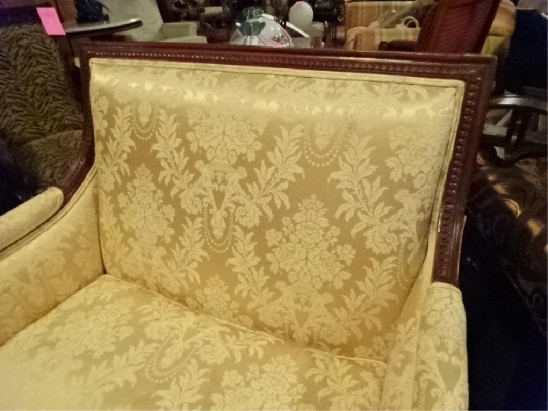 LOUIS XVI STYLE DOUBLE ARMCHAIR, GOLD UPHOLSTERY, VERY - 3