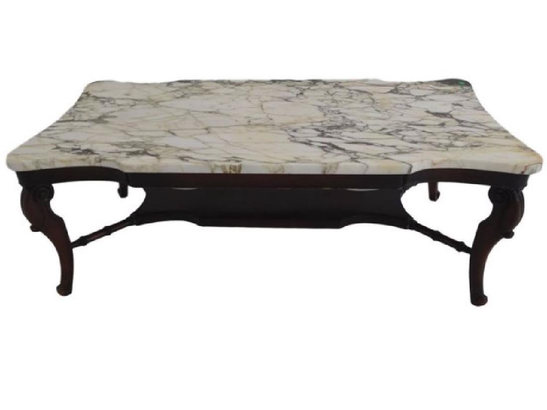 MAHOGANY MARBLE TOP COFFEE TABLE, RECTANGULAR WHITE
