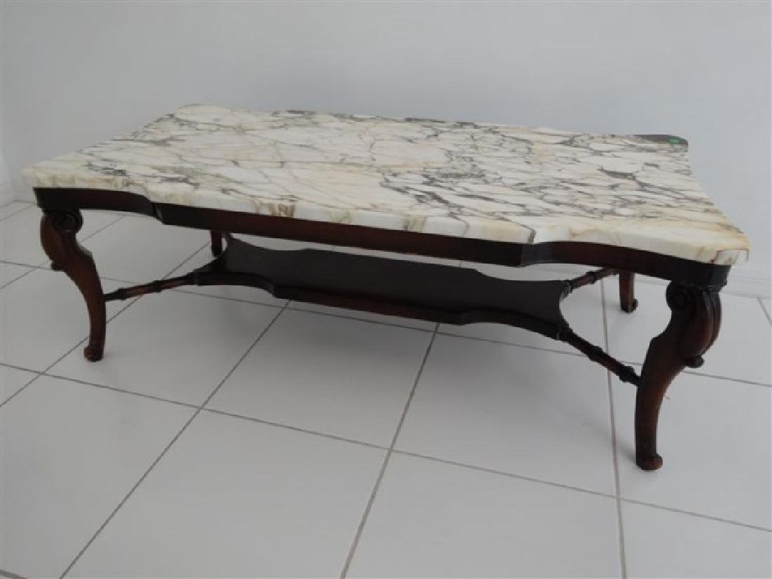 MAHOGANY MARBLE TOP COFFEE TABLE, RECTANGULAR WHITE - 2