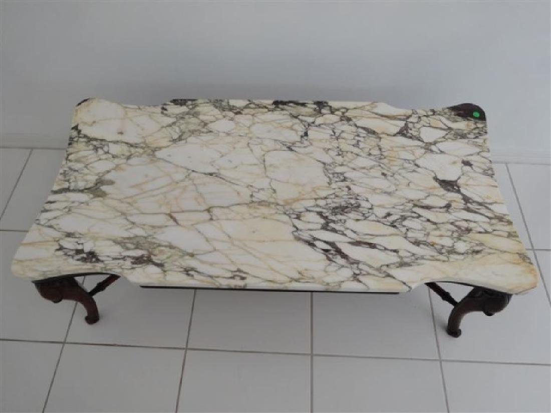 MAHOGANY MARBLE TOP COFFEE TABLE, RECTANGULAR WHITE - 3