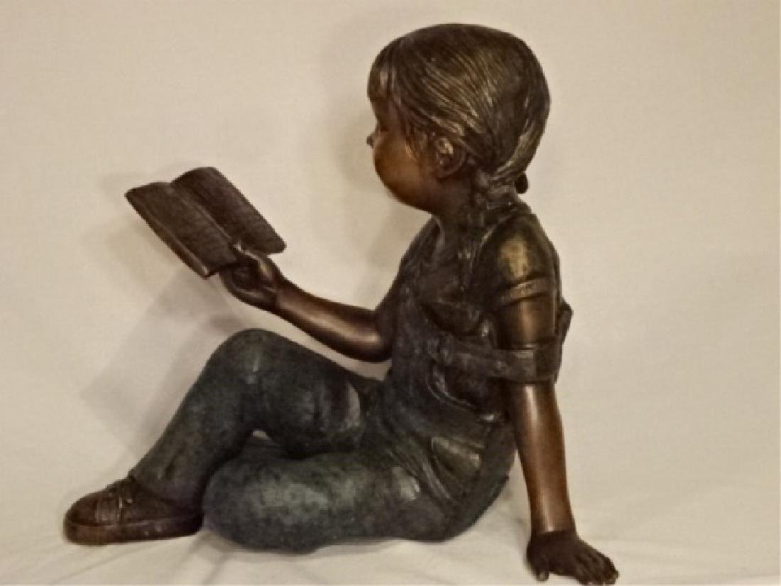 LARGE BRONZE SCULPTURE, GIRL READING BOOK, EXCELLENT
