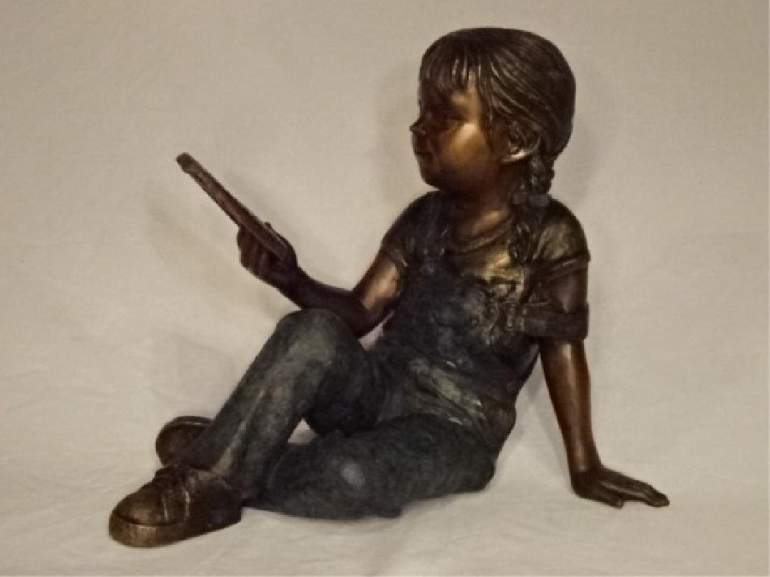 LARGE BRONZE SCULPTURE, GIRL READING BOOK, EXCELLENT - 2