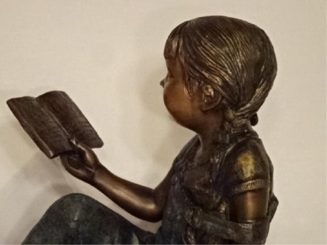 LARGE BRONZE SCULPTURE, GIRL READING BOOK, EXCELLENT - 3