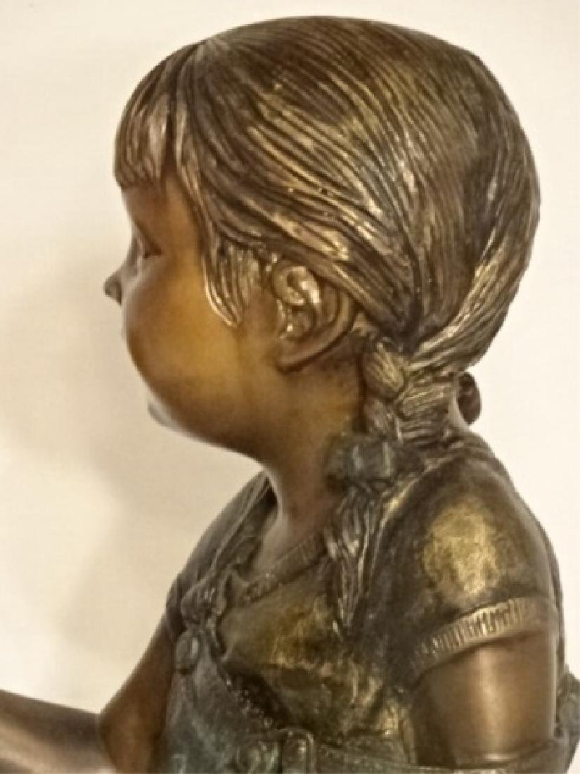 LARGE BRONZE SCULPTURE, GIRL READING BOOK, EXCELLENT - 4