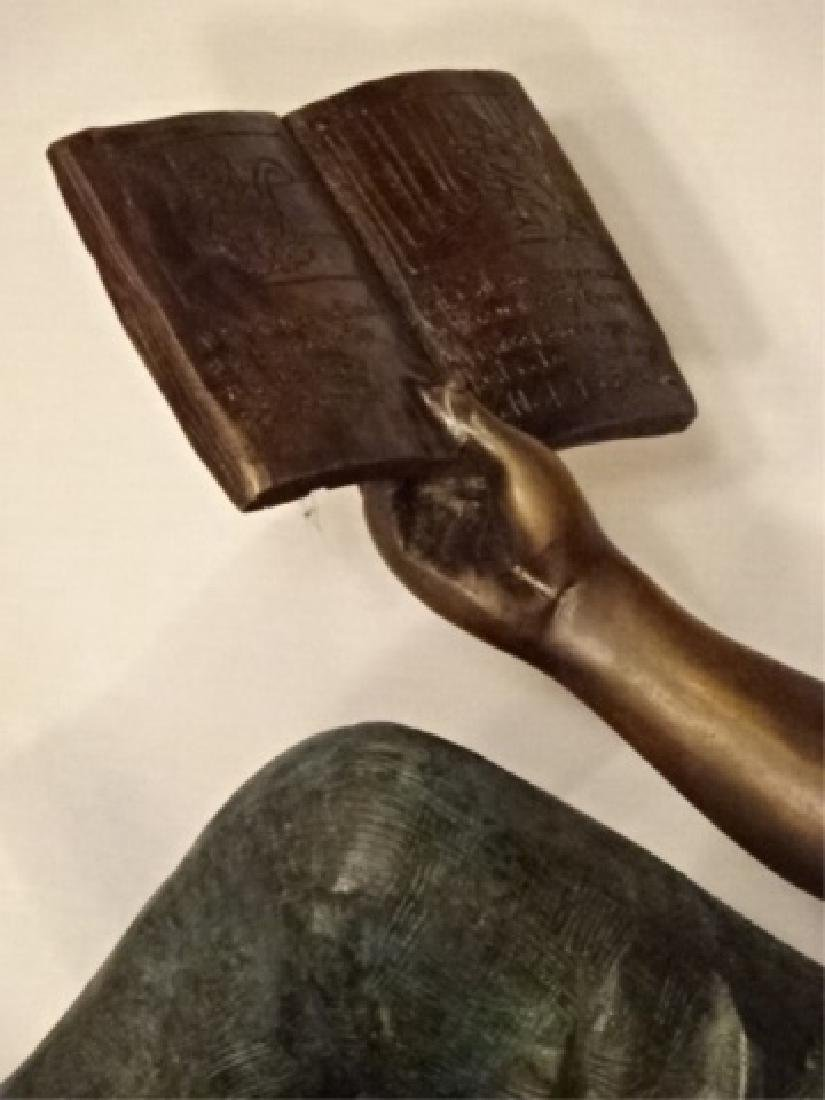 LARGE BRONZE SCULPTURE, GIRL READING BOOK, EXCELLENT - 5