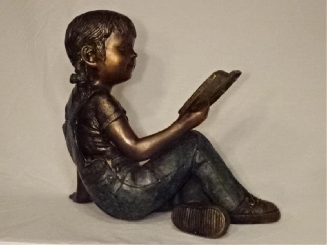 LARGE BRONZE SCULPTURE, GIRL READING BOOK, EXCELLENT - 6