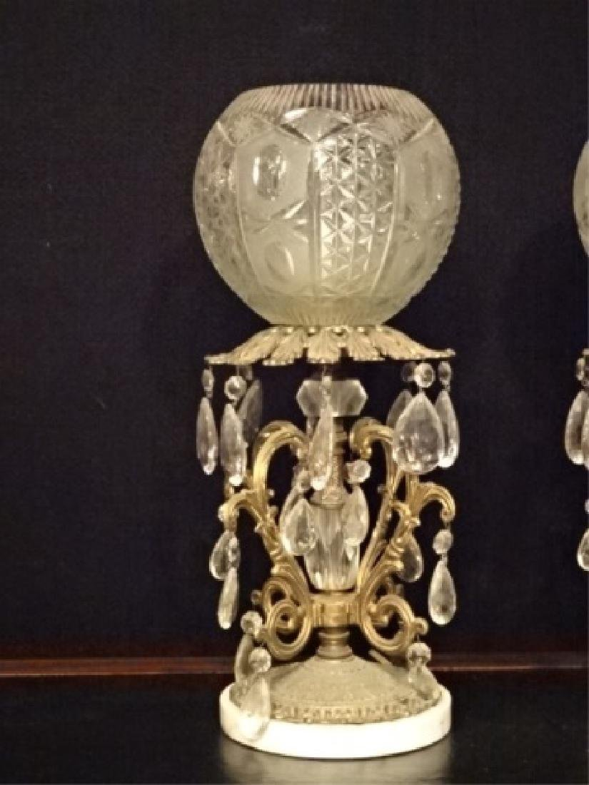 PAIR CRYSTAL AND BRASS LAMPS, MARBLE BASES, CRYSTAL - 7