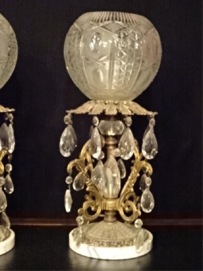 PAIR CRYSTAL AND BRASS LAMPS, MARBLE BASES, CRYSTAL - 9