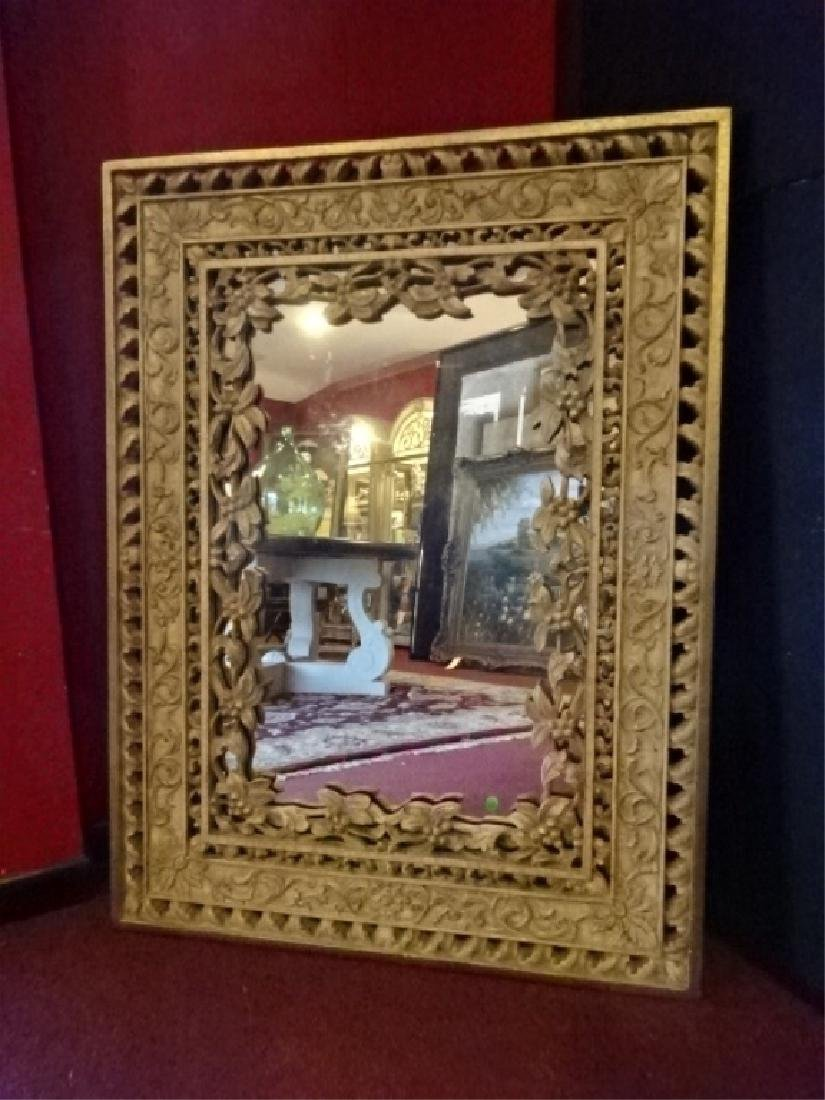 ORNATE RECTANGULAR MIRROR, FOLIATE AND FLORAL DESIGNS,